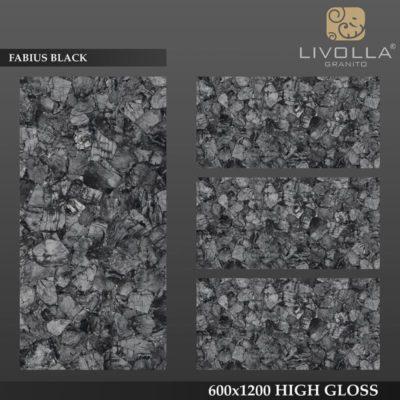 FABIUS BLACK - 600x1200(60x120) HIGH GLOSSY PORCELAIN TILE