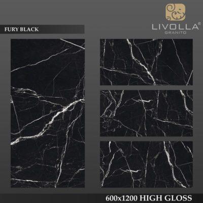FURY BLACK - 600x1200(60x120) HIGH GLOSSY PORCELAIN TILE