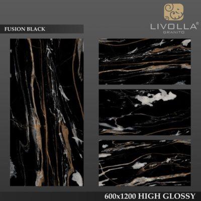 FUSION BLACK - 600x1200(60x120) HIGH GLOSSY PORCELAIN TILE