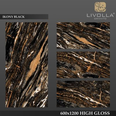 IKONY BLACK - 600x1200(60x120) HIGH GLOSSY PORCELAIN TILE