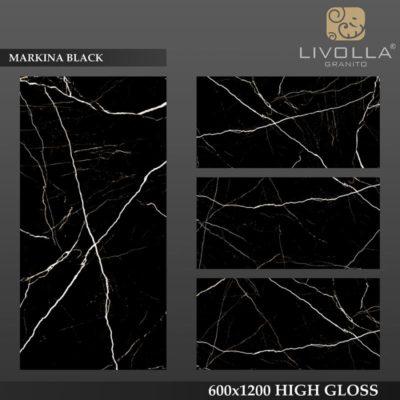 MARKINA BLACK - 600x1200(60x120) HIGH GLOSSY PORCELAIN TILE