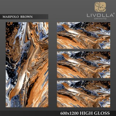 MARPOLO BROWN - 600x1200(60x120) HIGH GLOSSY PORCELAIN TILE
