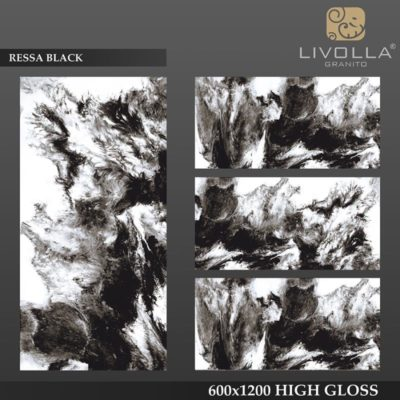 RESSA BLACK - 600x1200(60x120) HIGH GLOSSY PORCELAIN TILE