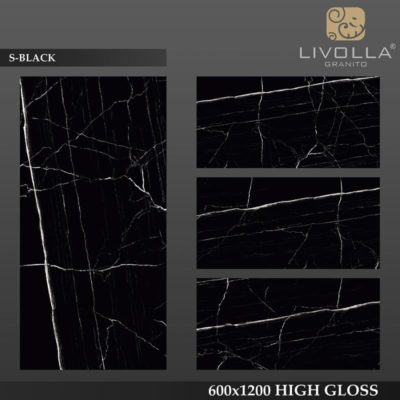 S BLACK - 600x1200(60x120) HIGH GLOSSY PORCELAIN TILE