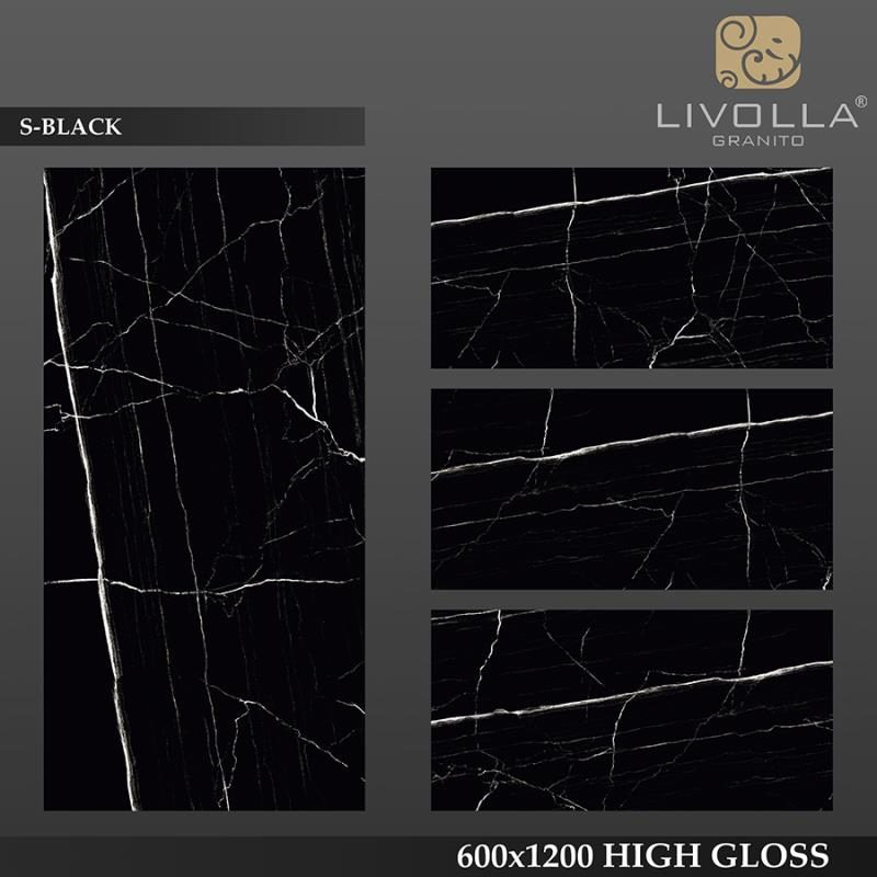S BLACK - 600x1200(60x120) HIGH GLOSSY PORCELAIN TILE