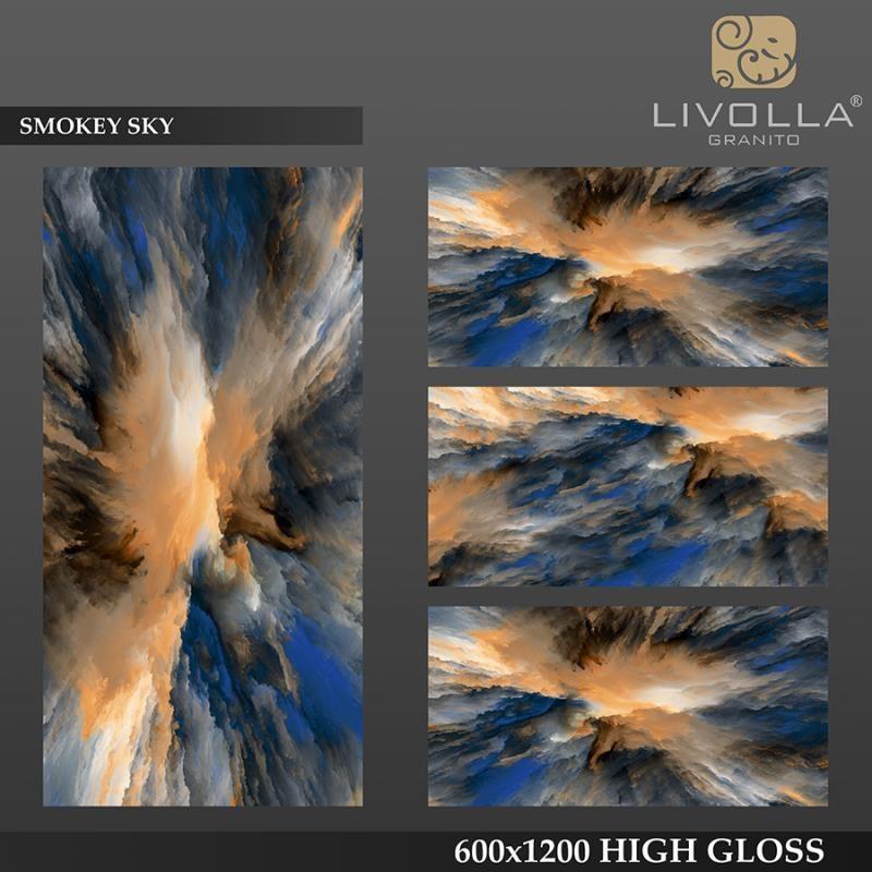 SMOKEY SKY - 600x1200(60x120) HIGH GLOSSY PORCELAIN TILE