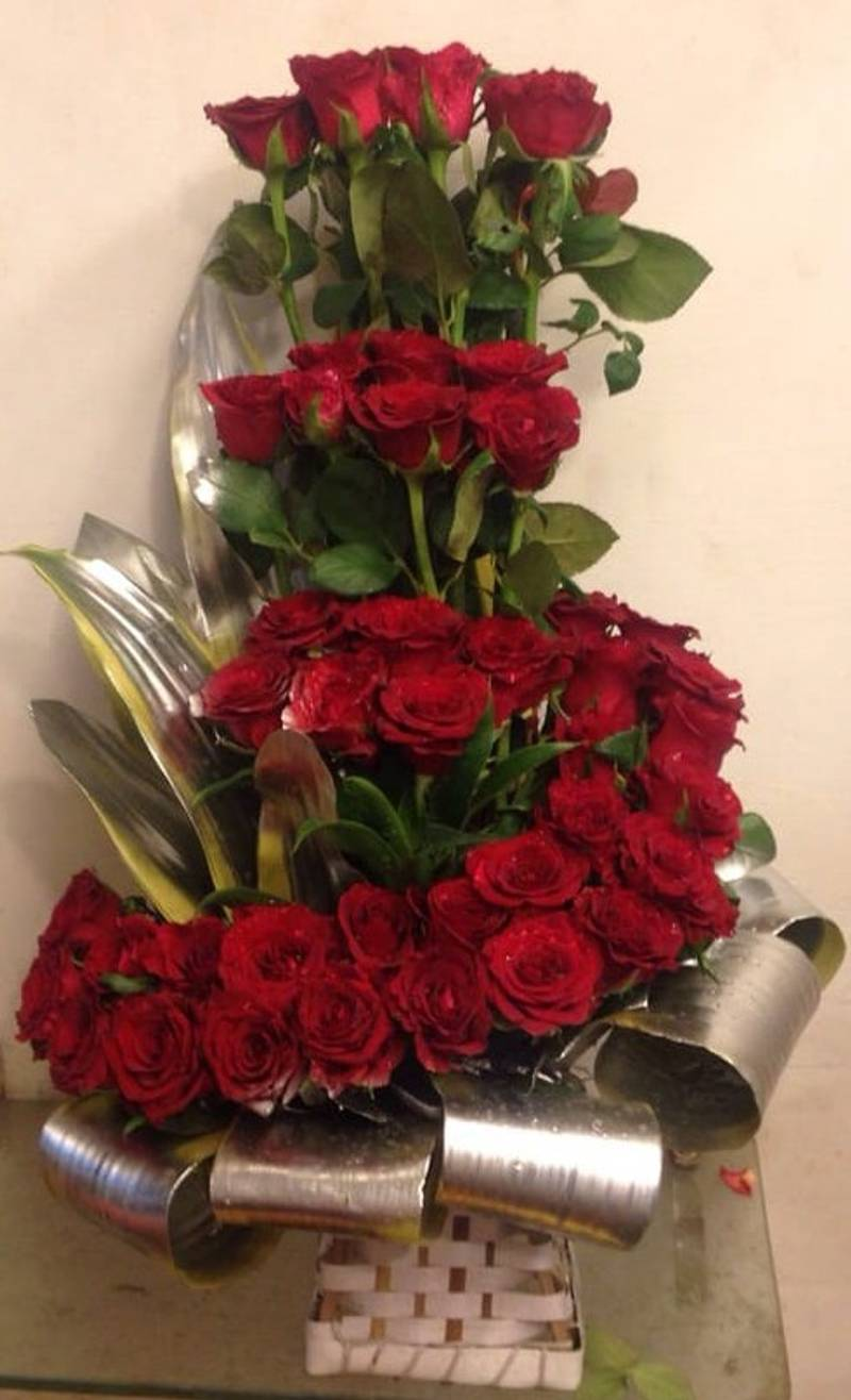 Delightful Three Layer Red Roses