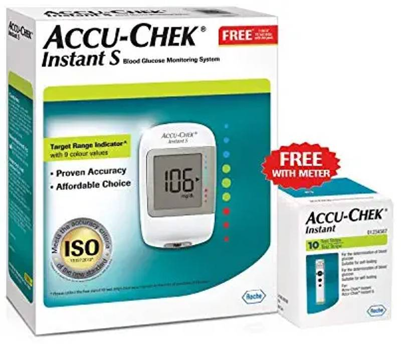Accu-Chek Instant S Glucometer with Free Test Strips, 10 Count (White)