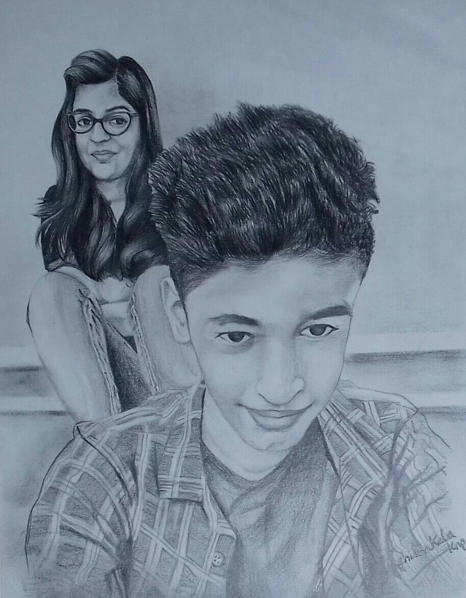 Sketch of a Teen Couple taking Selfie