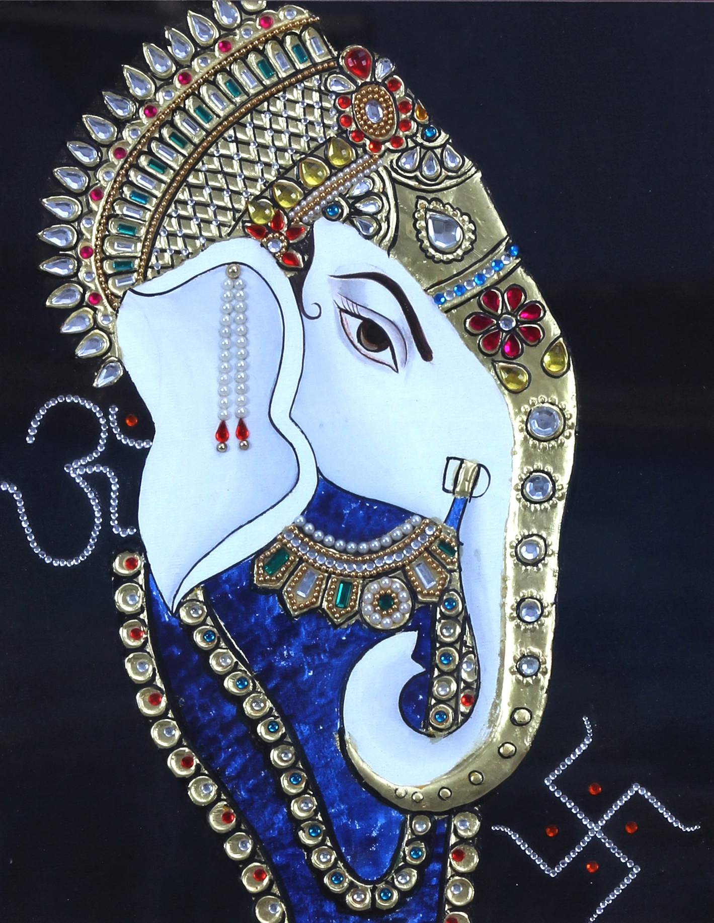 Tanjore Painting of Lord Ganesha Face