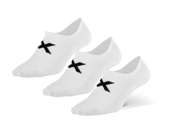 2XU Invisible Sock 3 Pack - White/Black