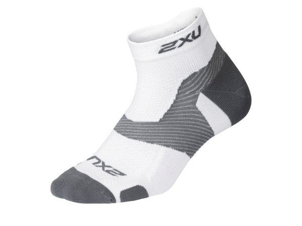 2XU Vectr Light Cushion 1/4 Crew Sock - White/Grey