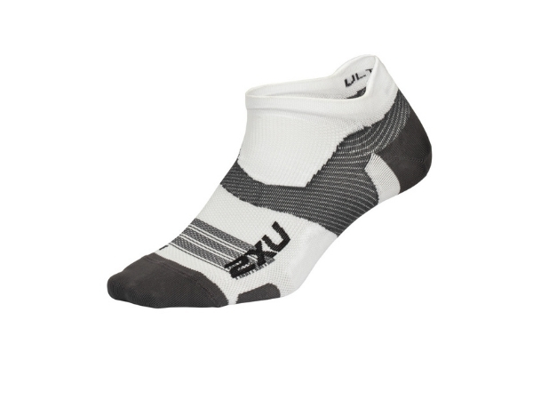 2XU Vectr Ultralight No Show Sock - White/Grey