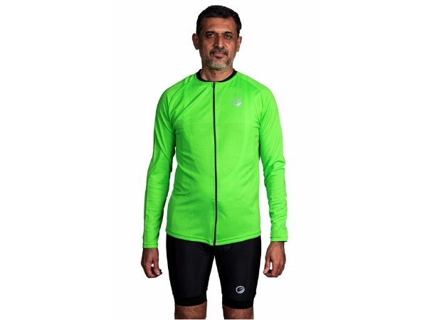 Apace Peleton Mens Cycling Jersey - Full Sleeves - Neon Green