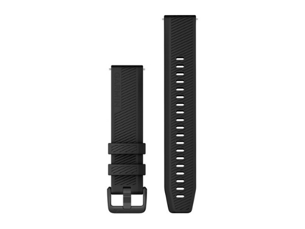 Garmin Quick Release Band (20 mm), Black Silicone Band with Slate Hardware (For Vivoactive 3, Vivoactive 3 Music, Vivomove HR, Forerunner 645 Music)