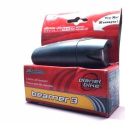 planet bike beamer 3 white led headlight