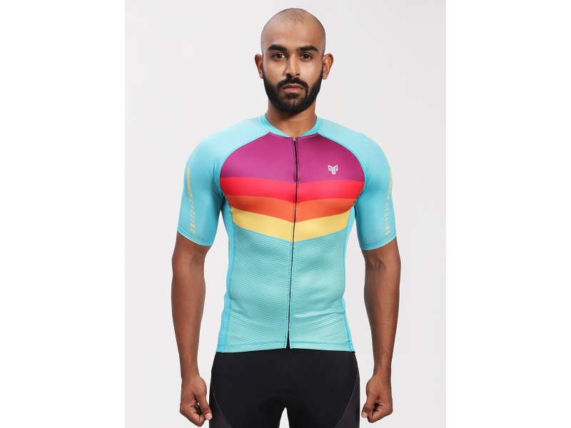 2Go Men Cadet Blue Cycling Jersey
