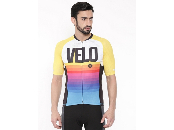 2Go Men's Cycling Jersey - Velo Love - White-Yellow