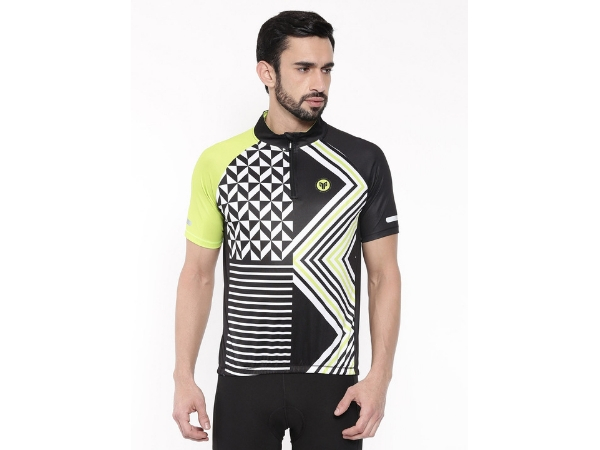2Go Men's Half Zipper Cycling Jersey - Black
