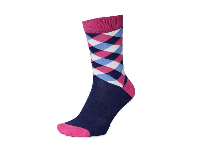 2Go Pull Up Length Cycling Socks - Dark Blue/Pink
