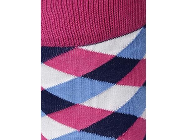 2Go Pull Up Length Cycling Socks - Dark Blue/Pink