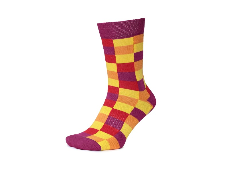 2Go Pull Up Length Cycling Socks - Purple/Yellow