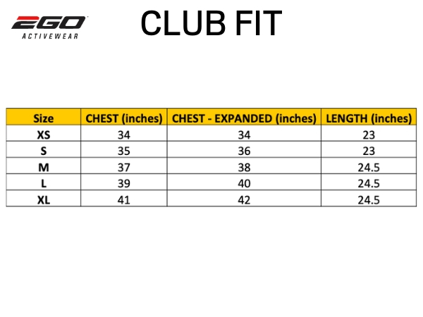 2Go Size Chart - Club Fit
