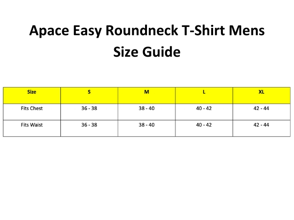 Apace Easy Roundneck T-Shirt - Mens Size Guide