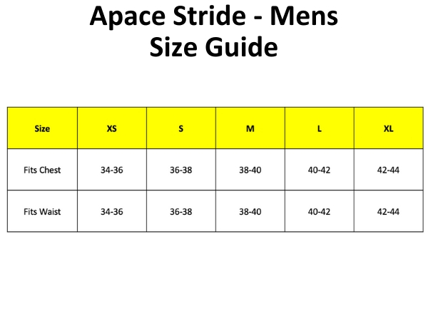 Apace Stride - Mens - Size Guide