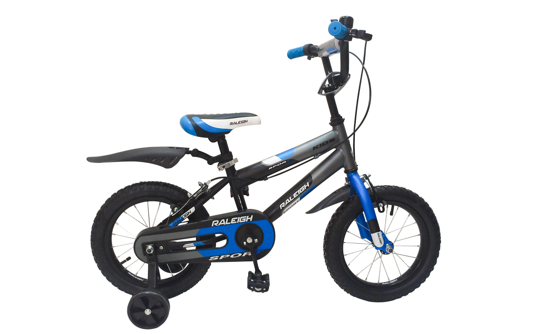 raleigh sport kids 14 2016 black with blue