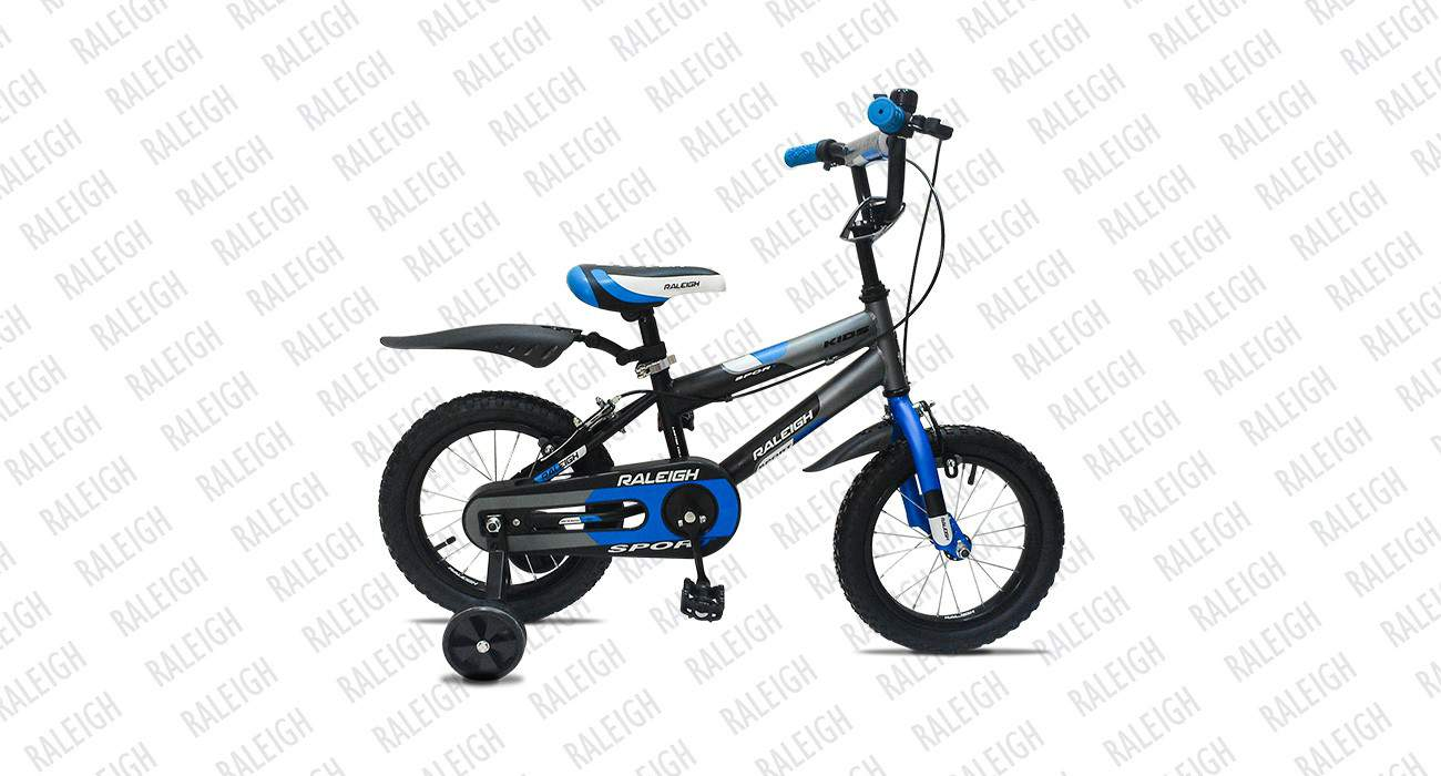 raleigh sport kids 14 2015 black with blue
