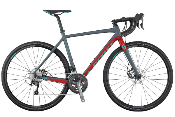 scott speedster gravel 20 disc 2017 grey with red