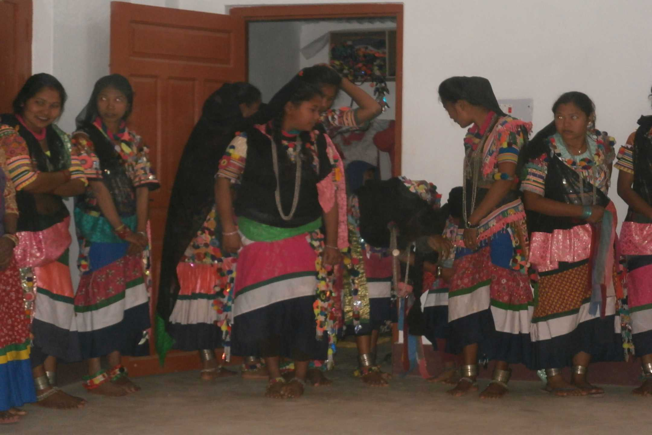 Ladies in colorful rana tharu clothes