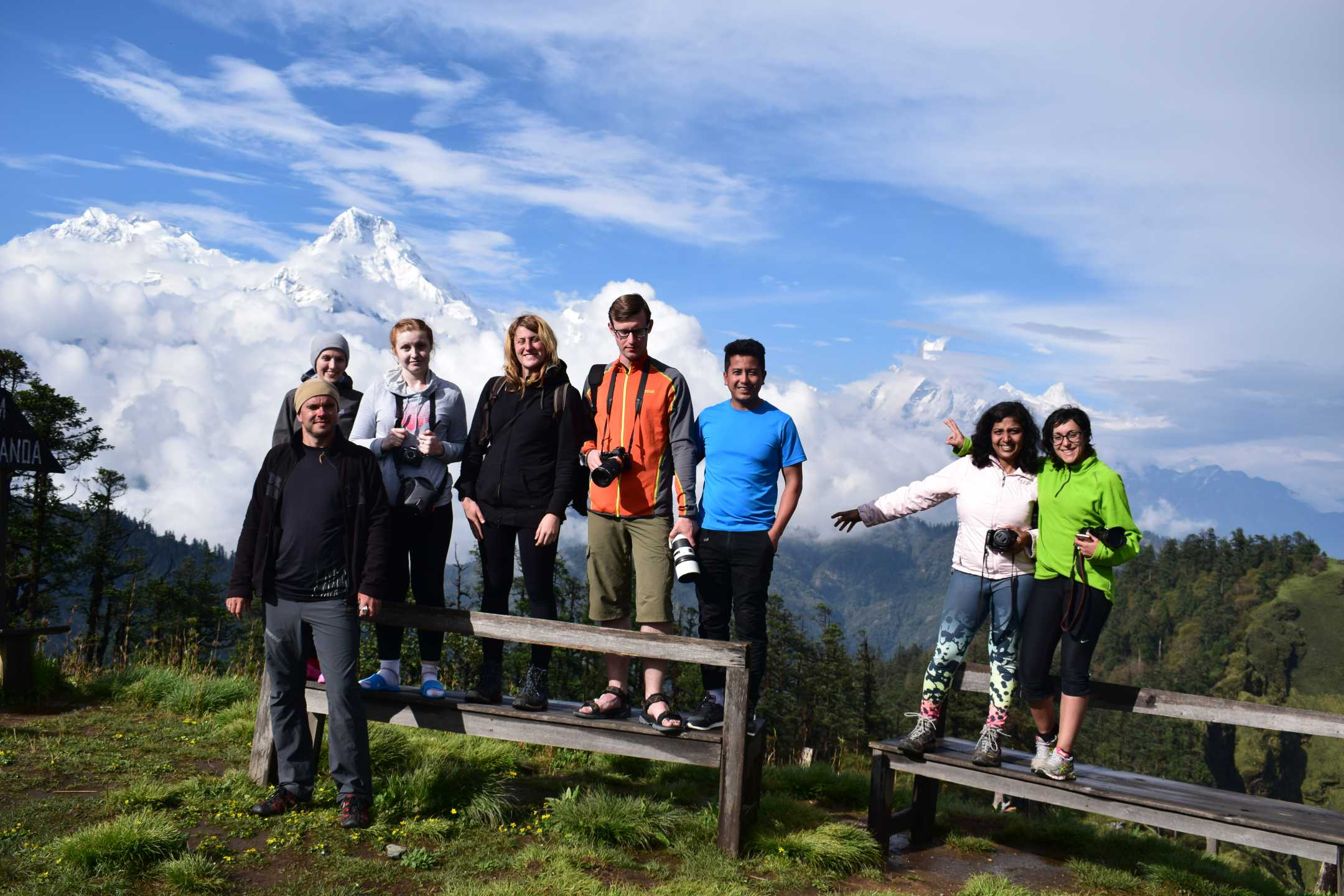 Trekkers enjoying at Mohare Danda, the highest point of the Annapurna Community Trek