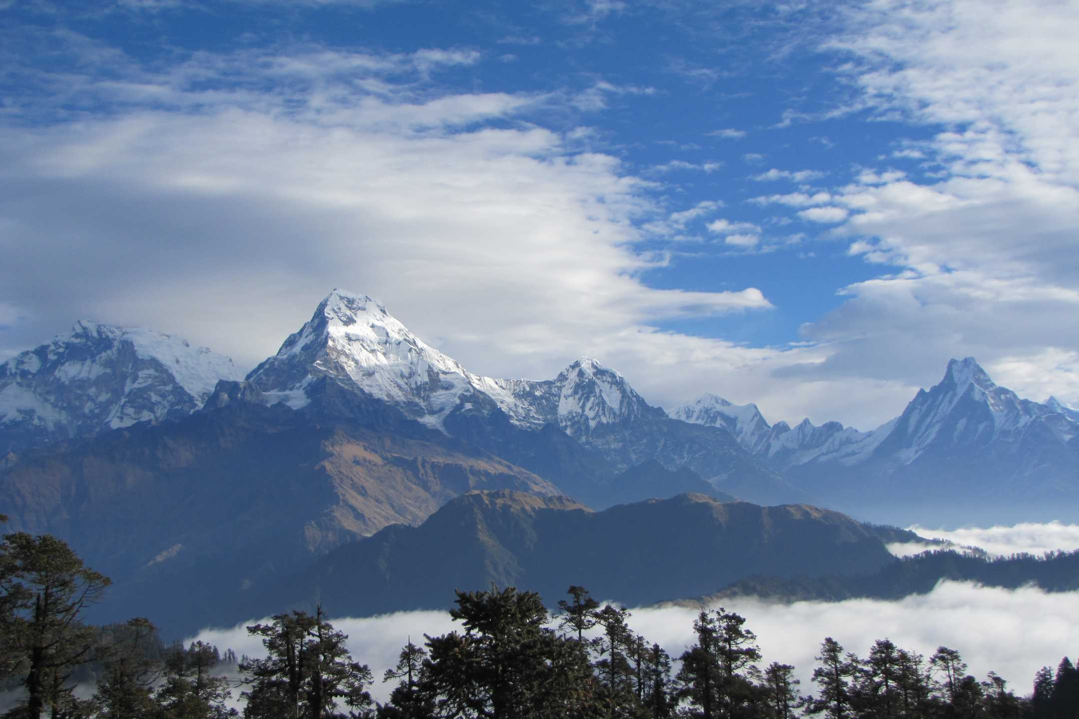 The views of Himalayas, as seen during the Annapurna Community Trek