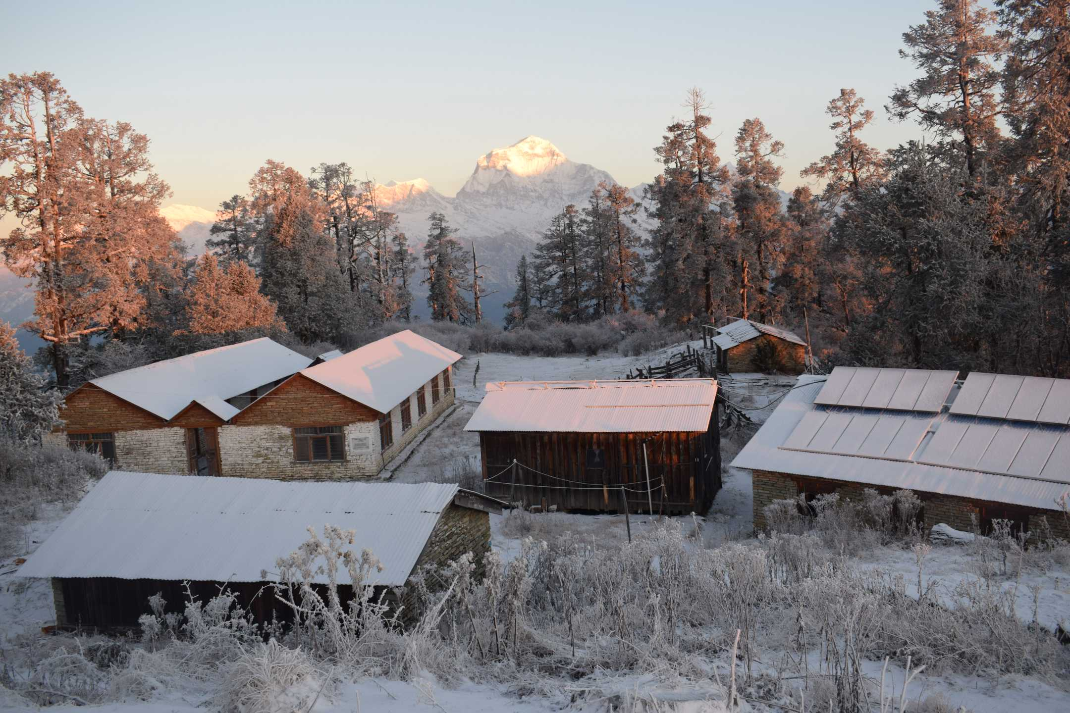 Snow covered roofs!! a typical village setting in the Annapurna Region