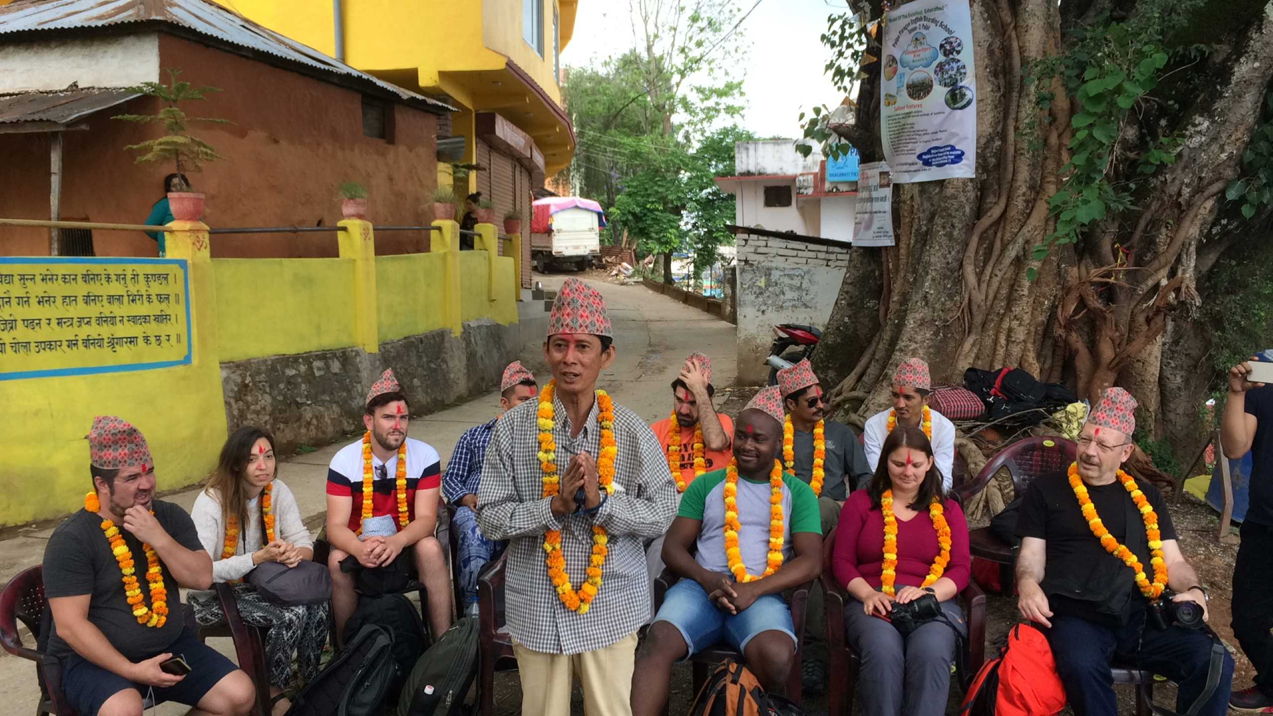 Community memebrs welcoming the Guests at Palpa Community Homestay