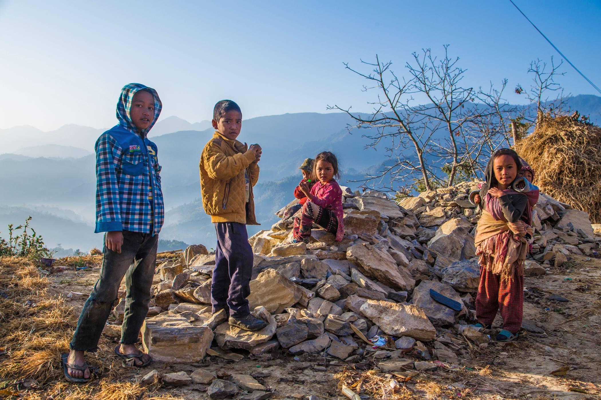 sight of local children playing along the Sanga - Panauti Community Hike route