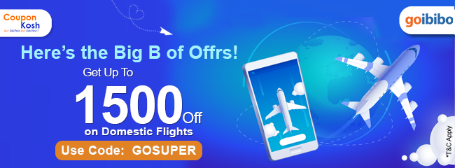 Upto Rs.1500 off on domestic flight booking