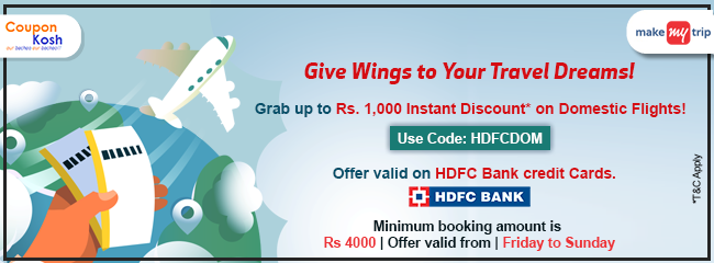 HDFC Friday to Sunday Domestic Flight Offer: Get flat 10% instant off upto Rs 1000 on domestic flight