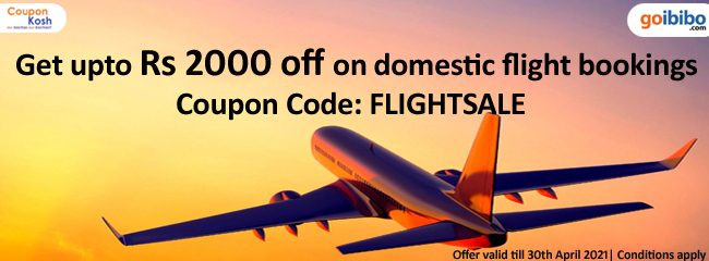 Upto Rs.2000 off on domestic flight booking