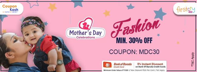Mother's Day Celebration: Flat 30% off on Select fashion range