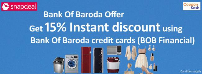 Bank Of Baroda Offer: Get 15% Instant discount using Bank Of Baroda credit cards (BOB Financial)