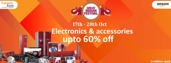 Great Indian Festival: Electronics & appliances - Upto 60% off
