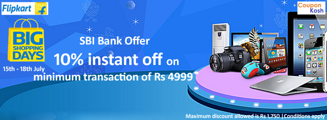 Big Shopping Days: SBI Bank Offer - 10% instant off on minimum transaction of Rs 4999