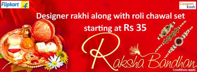 Designer rakhi along with roli chawal set starting at Rs 35
