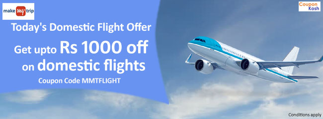 Today's Domestic Flight Offer: Get upto 6% upto Rs.1000 off on domestic flights