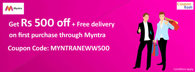 Rs 500 off + Free delivery on first purchase through Myntra
