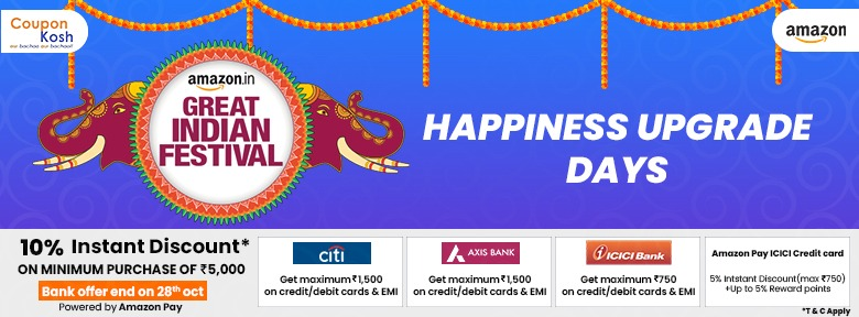 Great Indian Festival: ICICI Bank Offer - Get 10% instant off upto Rs 1500 on minimum transaction of Rs 5000
