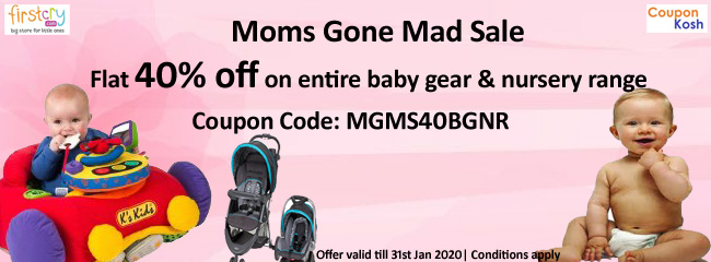 Moms Gone Mad Sale: Get flat 40% off on entire baby gear & Nursery Range